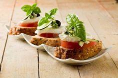 delicious sliced cereal bread with tomato mozzarella  Stock Photo