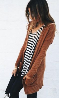 stripes. brown cardigan.