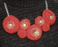 (these embelishments would be adorable on some of the wreaths I've pinned!) T-Shirt Rose Necklace