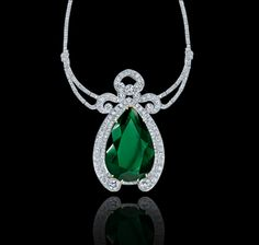Pear-shaped, 47.33 carat Colombian emerald, diamond and white gold necklace. Regal Collections Garrard
