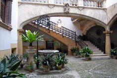 The indoor courtyards of the Old Town in Palma de Mallorca are a great way to spend an afternoon sightseeing!.