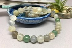 Beautiful Green Aventurine, Multi Moonstone & Quartz Crystal Healing M – Earth Wood & Bone