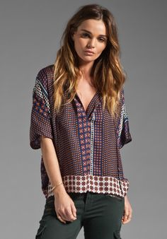 CENTRAL PARK WEST Maui Scarf Print Top in Navy