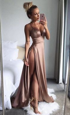sexy spaghetti straps long prom dresses, split side prom dresses long, high quality dresses