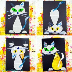 A Cool Cat Newspaper Art Project for Kids - using recycled materials and a free template, this cool cat can strike at least four different poses!