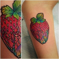 "slothgoth: ""socialjusticehighlander: ""tattoo by Katie Shocrylas @kshocs "" fancybidet this super cute gem powa strawberry reminds me of you"" sweet baby jebus"