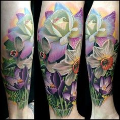 Violet, rose, daffodil tattoo -