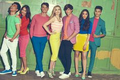 """Sophie Simnett as Skye, Luke Newton as Ben, Thomas Doherty as Sean, Bethan Wright as Danielle, Jayden Revri as Noah, Jade Alleyne as Kaylee, Joshua Sinclair-Evans as Josh; Disney Channel """"The Lodge"""""""