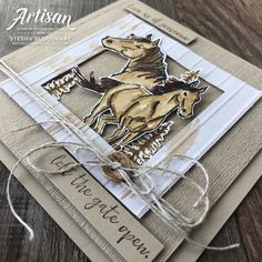 Let it Ride Stamp Set by Stampin' Up! Cards created by Stesha Bloodhart, Stampin' Hoot! Horse Cards, Horse Birthday, Animal Cards, Masculine Cards, Creative Cards, I Card, Card Kit, Homemade Cards, Stampin Up Cards