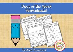 Days of the Week Worksheets, Printable, Preschool, First Grade, Kindergarten, Homeschool Worksheets Learning To Write, Writing Practice, Learning Resources, Student Learning, Teacher Resources, Kids Learning, Teaching Ideas, Learn To Spell, Learn To Count