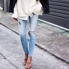 Denim and stilettos are the perfect pair.