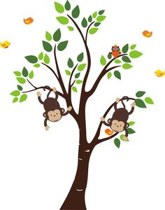 Forest & Woodlands Wall Decals for Nursery by NurseryDecals4You.  https://www.etsy.com/listing/268815043/forest-woodlands-wall-decals-for-nursery?ga_search_query=monkey&ref=shop_items_search_148 $124.95