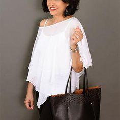 Chiffon Poncho – Sleeves 2 Go Draped Fabric, Sheer Fabrics, Scarf Design, Cold Shoulder Dress, Chiffon, Tank Tops, Pretty, Sleeves, Beauty