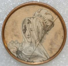 ca 1790 button with image printed on paper, hand tinted, under cracked glass and set in metal. French