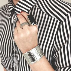 Stripes, statement ring and a silver cuff: An outfit that never goes out of style! Shop it: silpada.com #OOTD #SterlingSilver #WomensFashion