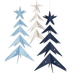 From wood to paper, these trees are made from paper stars sewn together and hung on a string. The Star Trees from Livingly come in Nordic colors and arrive flat for you to unfold into its 3D form.