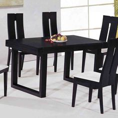 exclusive kitchen dining tables and suits in many contemporary modern black dining room sets Black Dining Room Furniture, Wooden Dining Room Chairs, Black Dining Chairs, White Dining Table, Contemporary Dining Table, Dining Table In Kitchen, Dining Tables, Dining Rooms, Black And White Dining Room