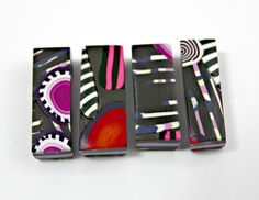Set of Four Handmade Polymer Clay Pendants in Rectangular Shapes With Bright Colors by blancheandguy on Etsy