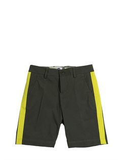 MSGM - SHORTS IN COTONE STRETCH - VERDE MILITARE