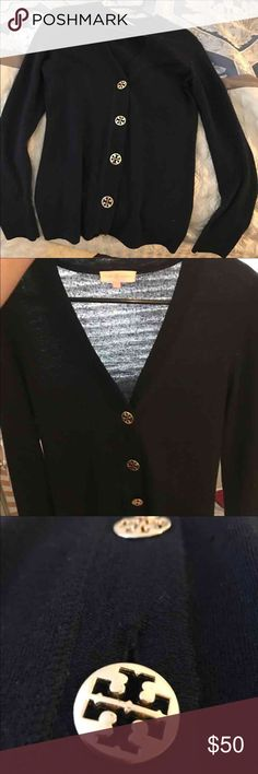 Tory Burch Navy Cardigan Size M. Color is NAVY but a darker shade. Gently worn. Buttons are in great condition. Small hole near bottom of sleeve on the right as seen in picture 4. Please note I had to recreate this listing because another posher did not read my description. This is a navy sweater NOT black. Tory Burch Sweaters Cardigans