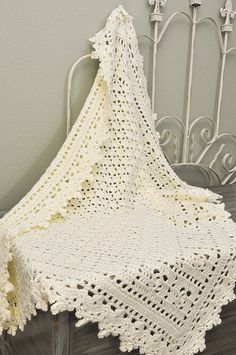 Crochet Baby Blanket  Cream Lacy Heirloom by CuddleBugCrochet