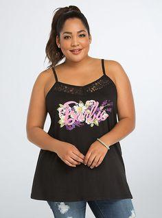 Plus Size Mattel Barbie Collection Flower Logo Tank Top, DEEP BLACK