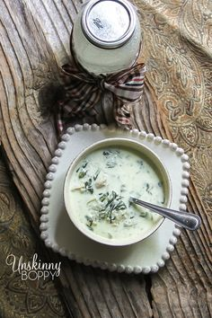Cream of Chicken and Wild Rice Soup recipe featuring spinach, wild rice and chicken in a cream base. Recipe from Crepe Myrtle Cafe in Homewood, Alabama.