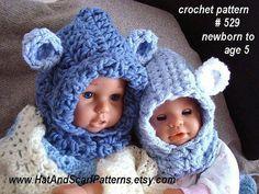 hat pattern CROCHET PATTERN Baby Bear Hood by HatAndScarfPatterns, $4.99
