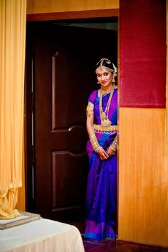 Stunning Bright Blue and Purple South Indian Bridal Saree South Indian Wedding Saree, Indian Bridal Sarees, South Indian Sarees, Indian Silk Sarees, South Indian Weddings, Indian Bridal Makeup, Indian Bridal Wear, South Indian Bride, Saree Wedding