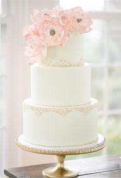 Metallic Wedding Cakes Amalie Orrange Photography pink flowers