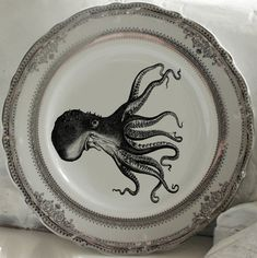 Gold or Silver Octopus Plates Sea Life Plates by AngiolettiDesigns