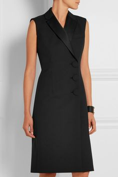 Black crepe Button fastenings along front Fabric1: 55% polyester, 45% wool; fabric2: 100% polyester; lining: 72% acetate, 28% silk Dry clean