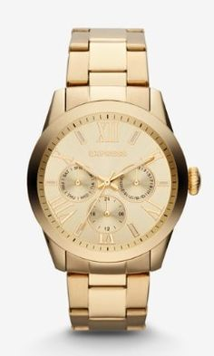 multi-function watch - gold from EXPRESS