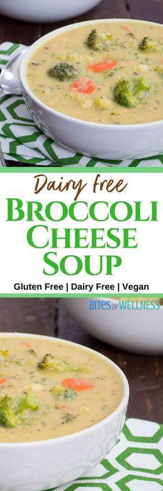 Healthy vegan broccoli cheese soup is sure to make any dinner special. #vegan, #glutenfree, #dairyfree | https://bitesofwellness.com