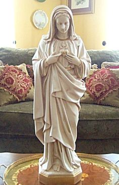 "$188 Detailed 24"" Immaculate Heart Of Virgin Mary Plaster Statue, Antique Finish, Garden, Home Decor, Catholic, Christian, Icon"