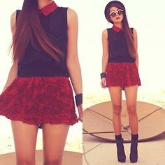 Mini Skirt with Structured Rose Detail