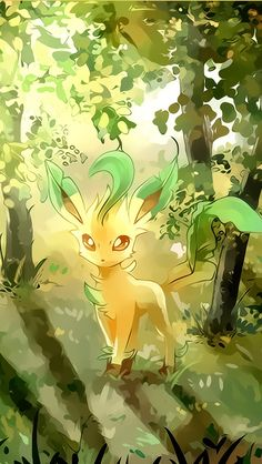 Leafeon admiring the sunshine as it brightly shines through the leaves on the trees in the forest. -KG // #Pokemon #Leafeon #fanart http://www.helpmedias.com/pokemongo.php