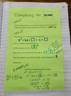 Completing the Square Interactive Notebook Page