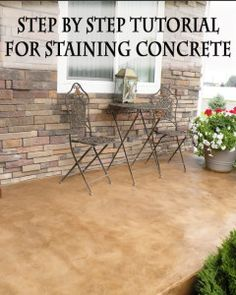Step by step tutorial for staining concrete. BC I love stained concrete! Living Pool, Outdoor Living, Outdoor Decor, Outdoor Curtains, Painting Concrete, Concrete Staining, Concrete Floors, Plywood Floors, Concrete Lamp