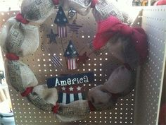 "22"", America & Fireworks Burlap Wreath by Red-y Made Wreaths. Like us on Facebook https://www.facebook.com/pages/Red-y-Made-Wreaths/193750437415618 or Visit at www.redymadewreaths.com"