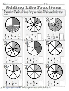 Adding and Subtracting Like Fractions, that is fractions that have the same denominator. This is a perfect workbook for your students who are just being introduced to. Math Fractions Worksheets, Teaching Fractions, Teaching Math, Math Strategies, Math Resources, Adding Fractions, Homeschool Math, Homeschooling, Fourth Grade Math