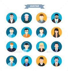 Set of Avatars Icons (Vector EPS, AI Illustrator, CS, abstract, app, avatar, black, design, face, female, flat, head, hipster, icon, internet, male, model, modern, mustache, object, people, portrait, profile, programmer, retro, sign, social, symbol, template, user, vector, web, woman)