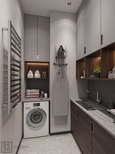 Get onboard with the wood slat wall trend with this luxurious home interior; featuring wood slat dividing walls, wall panel design and wood ceiling ideas. Modern Laundry Rooms, Laundry Room Layouts, Wood Slat Wall, Wood Slats, Wood Wood, Küchen Design, House Design, Interior Design Living Room, Interior Decorating