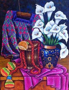 Lorenzo Cruz Mexican Artwork, Mexican Folk Art, Mexican Tiles, Hispanic Art, Hispanic Culture, Guatemalan Art, Arte Latina, Latino Art, Spring Painting