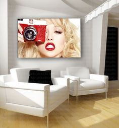 Blonde Photographer Red Lips Canvas Art Poster Print Home Decor