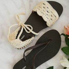 Crochet Sandals with flip flop soles - Free Pattern