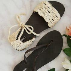 Crochet Sandals with flip flop soles - Free Pattern