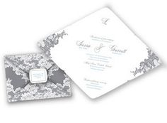 Lace Simplicity Wedding Invitation in Mercury by David's Bridal. #davidsbridal #grayweddings