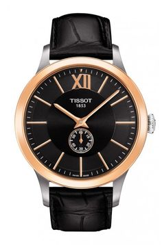Tissot Classic Gent 18K Gold Men's Automatic Chronograph Black Dial Watch with Black Leather Strap