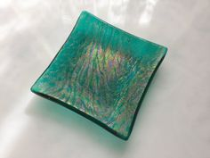 Fused Glass Dish Iridescent Textured Teal by AngelasArtGlass